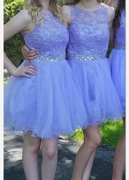 Lavender Short Tulle with Applique and Beaded Party Dresses, Homecoming Dresses for Teens, Prom Dresses