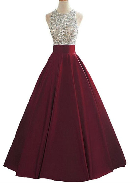 Pretty Wine Red Halter Long Satin Beaded Prom Dress Keyhole Back Prom Dress, Formal Gowns 2018