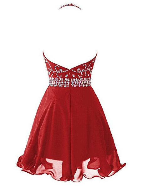Red Halter Beaded Chiffon Short Homecoming Dresses 2018, Red Party Dress, Red Prom Dresses