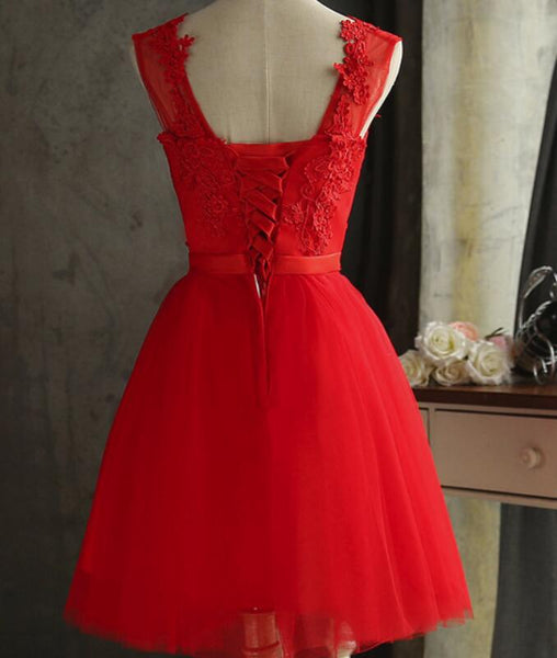 Red Tulle Short Lovely Knee Length Party Dresses, Red Formal Dresses, Short Party Dresses