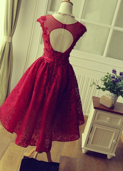 Wine Red Beautiful Lace Short Round Neckline Formal Dresses, Charming Prom Dresses, Cute Party Dress