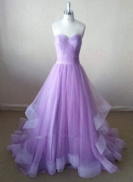 Charming Tulle Lavender Ball Gown Evening Gowns, Long Prom Gowns, Prom Dresses 2018