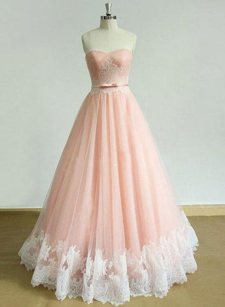 Pink Tulle Prom Dress with Lace Applique, Pink Formal Dresses, Evening Dress 2018