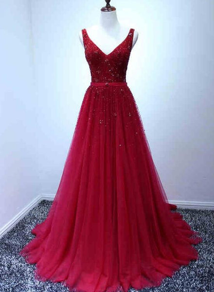 Dark Red Beaded Tulle Party Gowns 20018, Tulle Backless Sexy Prom Dress 2018, Beaded Evening Gowns