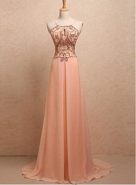 Chiffon Beaded Halter Prom Dress 2018, Stunning Party Gowns, A-line Prom Dress