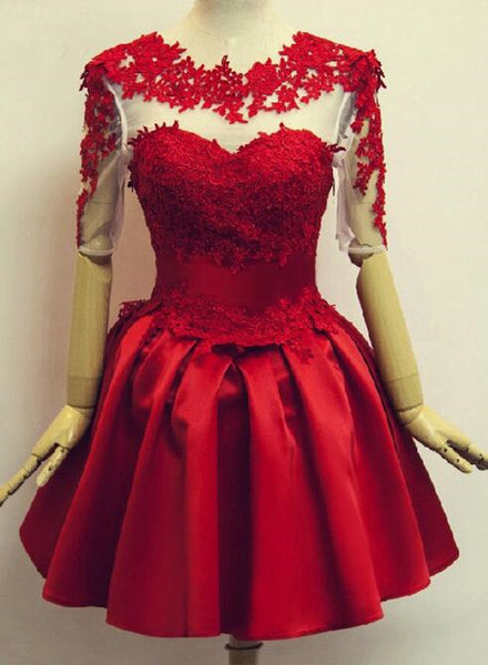 Red Short Sleeves Satin and Applique Homecoming Dresses, Red Short Prom Dresses, Formal Dress 2018