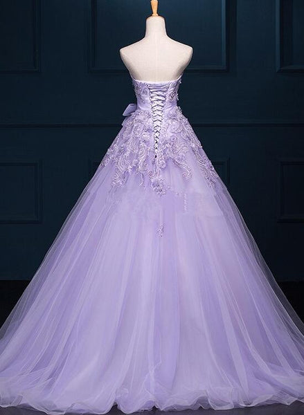 Light Purple Tulle Beaded and Applique Gorgeous Gowns, Sweet 16 Formal Gowns, Party Dresses