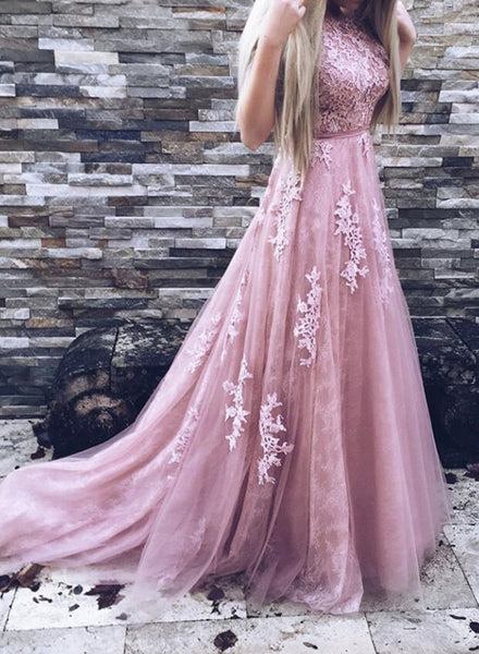 Dark Pink Round Neckline Applique A-line Party Dresses, Pink Formal Dresses 2018, Junior Prom Dresses