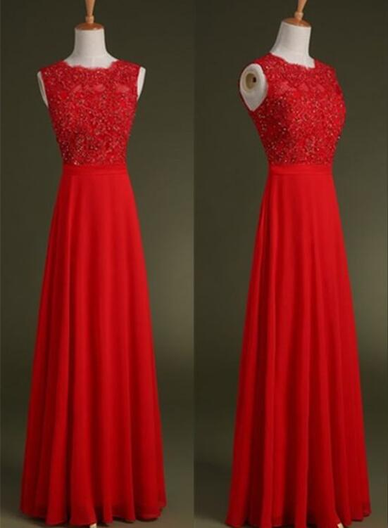 Charming Red Chiffon Prom Dress 2018, Party Dresses, Red Floor ...