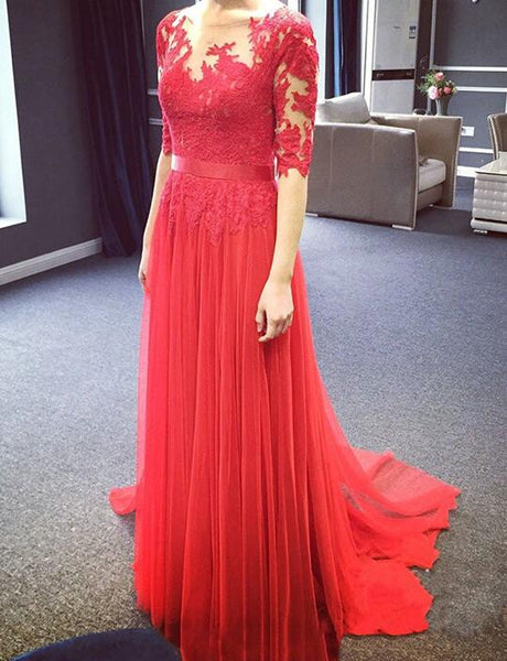 Charming Red Tulle Full Length Long Sleeves Prom Dresses, Red Bridesmaid Dresses, Tulle Formal Dresses