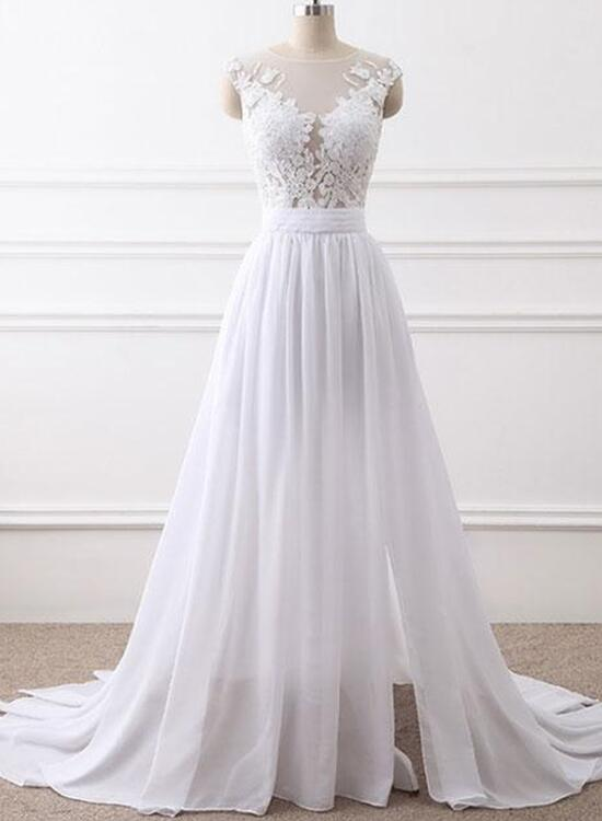 White Chiffon Slit Simple Wedding Dress, Charming Party Gowns ...