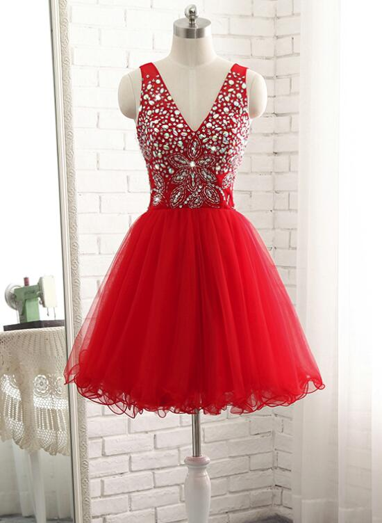 Red Short Beaded Sparkle Short Homecoming Dresses 2018, Lovely Red ...