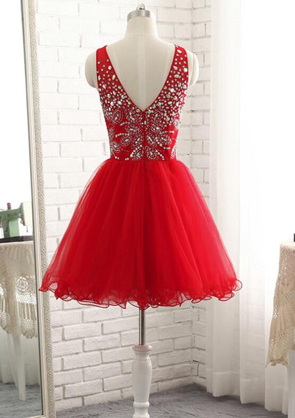 Red Short Beaded Sparkle Short Homecoming Dresses 2018, Lovely Red Prom Dress, Short Dresses