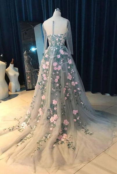 Charming Floral Party Gowns, Floral Party Dresses, Formal Dress 2018