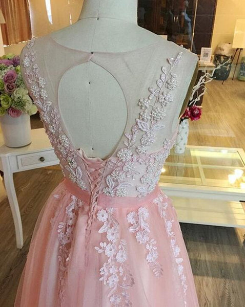 Pink Sleeves O Back with Applique, Cute Tulle Long Prom Dress, Junior Party Dresses