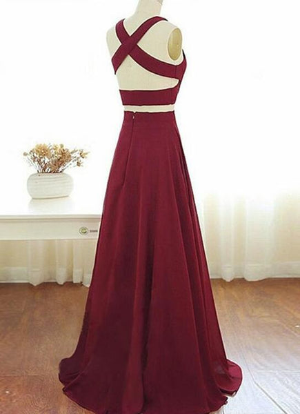 Wine Red Two Piece Chiffon Party Dress 2018, Two Piece Formal Gowns, Prom Dress 2018