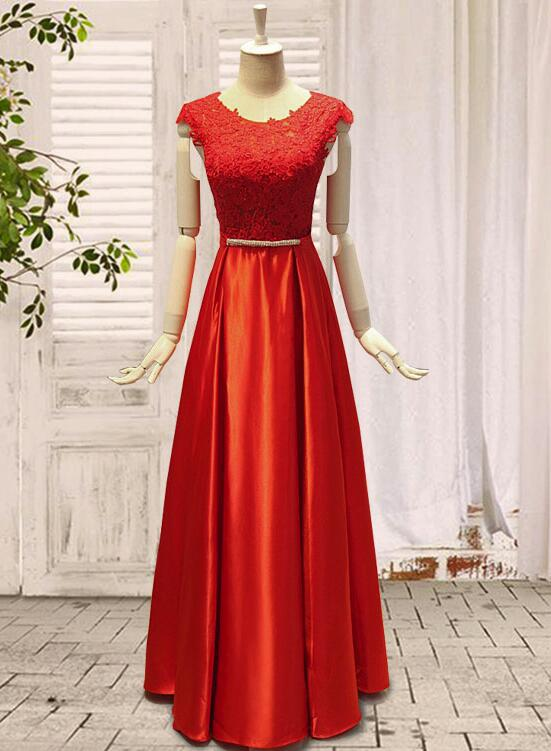 a9d619b8790c Red Long Party Dress with Bow