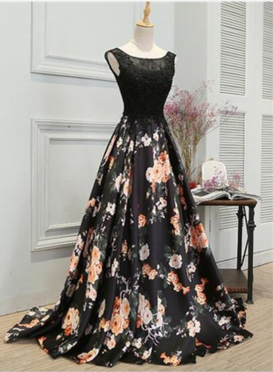 Black Floral Prom Gown, Prom Dress 2018, Party Dresses for Sale ...
