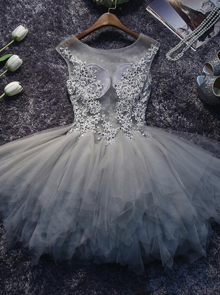 Grey Lace and Tulle Homecoming Dresses, Lovely Short Party Dress, Formal Dresses