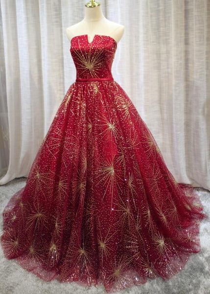 Beautiful Red Sparkle Lace-up Long Prom Dress, Dark Red Formal Gowns, Woman Formal Dress 2018