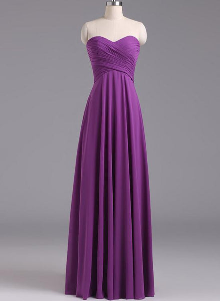 Purple Chiffon Simple Bridesmaid Dresses, A-line Floor Length bridesmaid Dress 2018, Formal Gowns