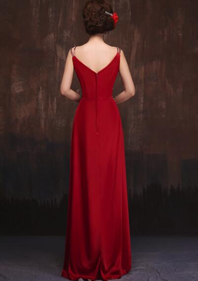 Red Straps Sequins Pretty Long Satin Formal Gowns, Red Party Gowns, Red Formal Dresses