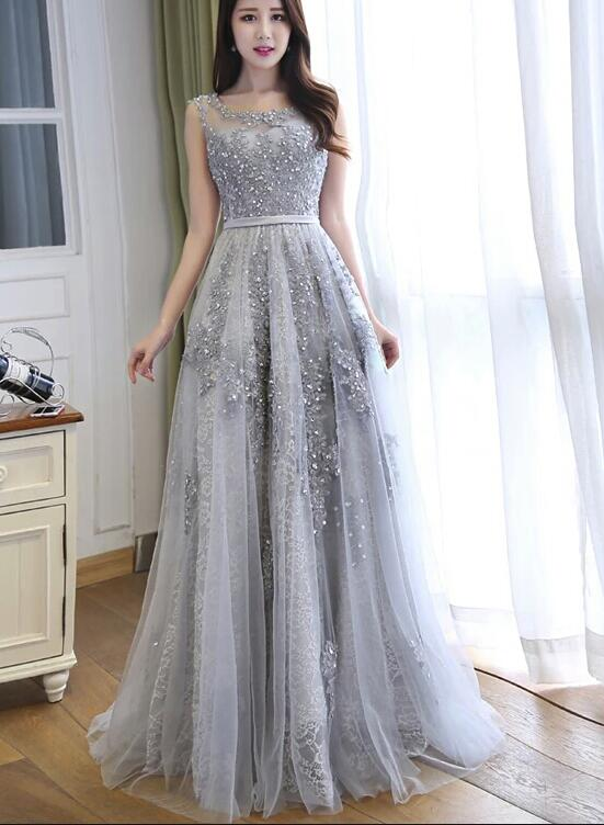 Grey Prom Dress 2019, Long Formal Gowns, Handmade Party Dress ...