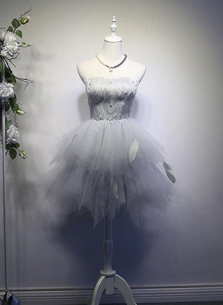 Grey Feather and Tulle Cute Party Dresses, Women Formal Dress