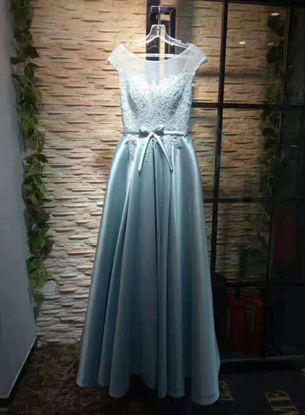 Elegant Satin A-line Lace-up Lace Top Prom Gown, Charming Party Dress 2019