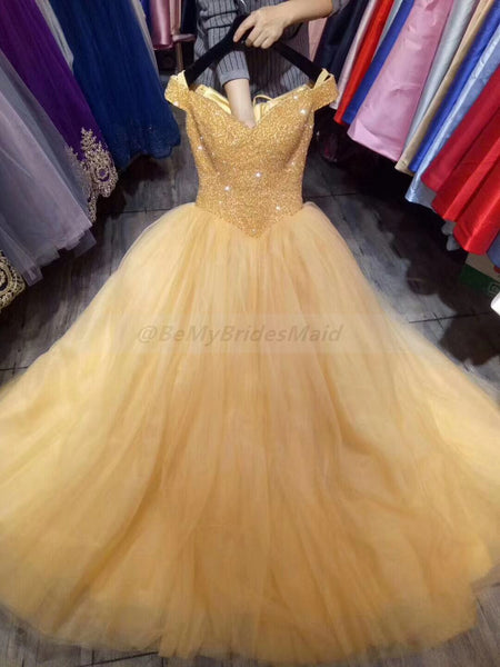 Gorgeous Tulle Crystal Sweetheart Off Shoulder Sweet 16 Gowns, Formal Gowns 2019