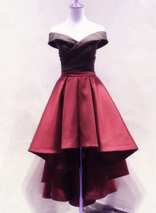 Black and Red High Low Satin Off Shoulder Party Dress e1a46b243