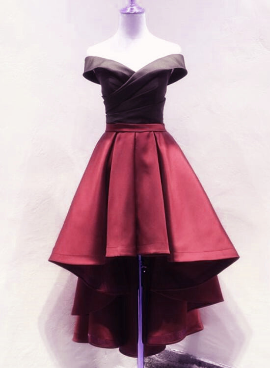 Black And Red High Low Satin Off Shoulder Party Dress Satin