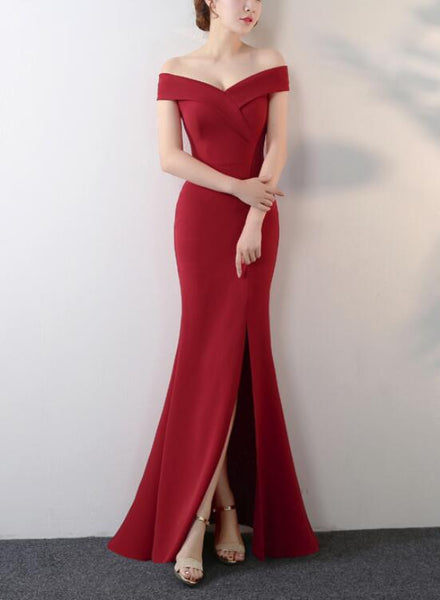 Beautiful Wine Red Off Shoulder Slit Long Formal Dress, Charming Formal Gowns 2019