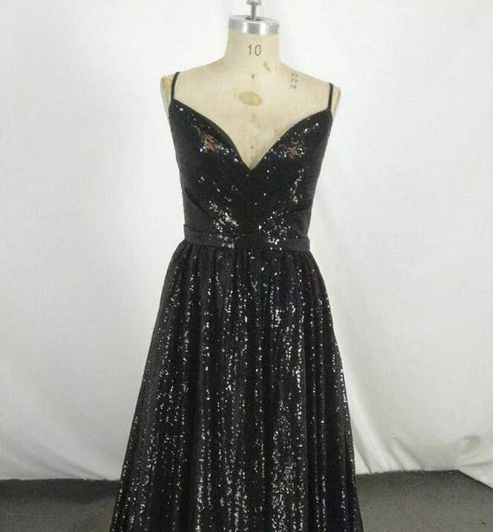 Sexy Sequins Slit Long Prom Dress, Black Straps Charming Formal Gown