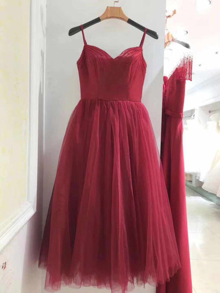 Wine Red Tea Length Sweetheart Straps Wedding Party Dress, Beautiful Formal Gowns