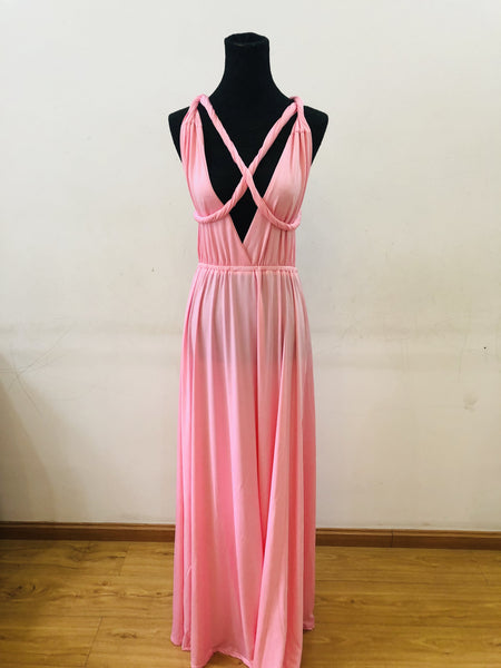 Charming Pink High Quality Multiway Bridesmaid Dress, Women Convertible Dresses