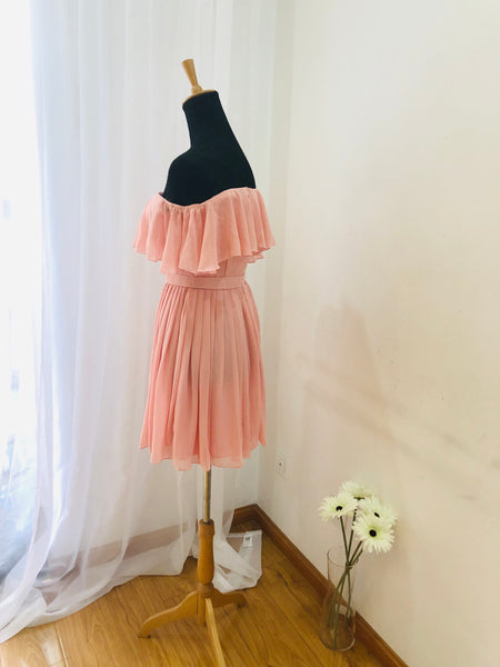 Beautiful Pink Off Shoulder Short Bridesmaid Dress in Stock, Lovely Party Dress, Bridesmaid Dress 2019