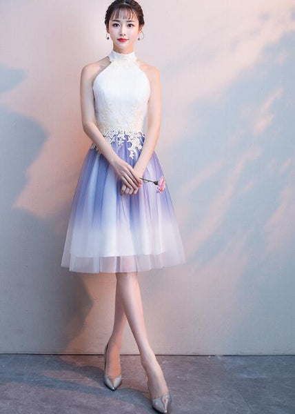 Cute Halter Tulle A-line Knee Length Party Dress, Light Purple Homecoming Dress