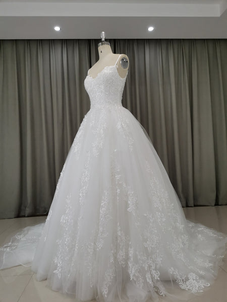 white straps tulle long wedding dress