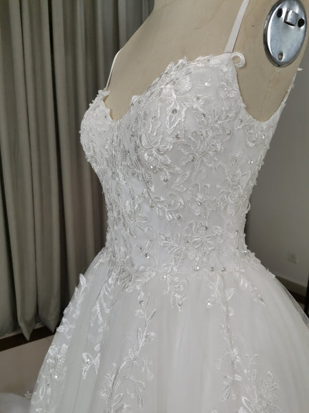 Gorgeous White Straps Tulle and Lace Prom Gown, Wedding Dresses