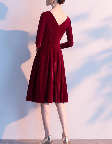 Eelgant Vintage Style Wine Red Bridesmaid Dress, Short Prom Dress 2020