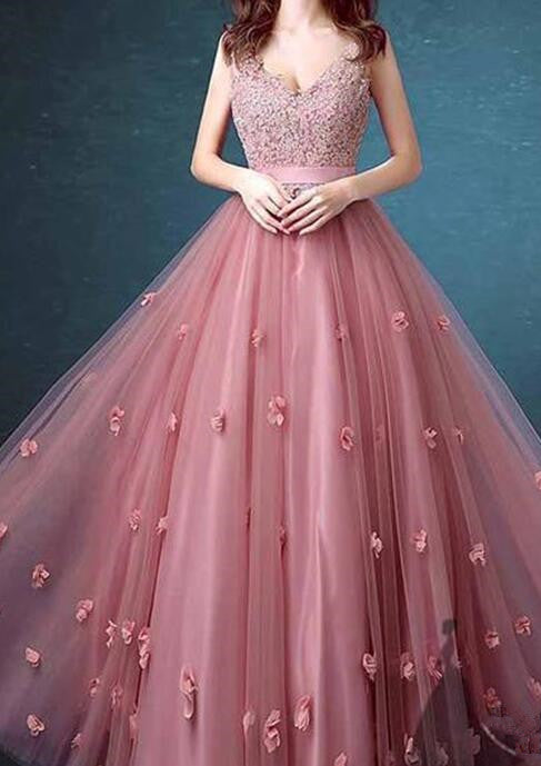 Pink Lace Tull Elegant Formal Dresses, Pink Party Dresses, Junior ...