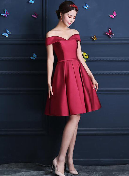 Lovely Satin Off Shoulder Homecoming Dress, Knee Length Party Dress