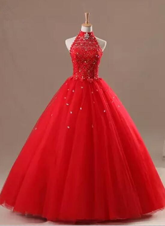 Gorgeous Red Halter Prom Dress, Prom Dress 2018, Formal Gowns ...