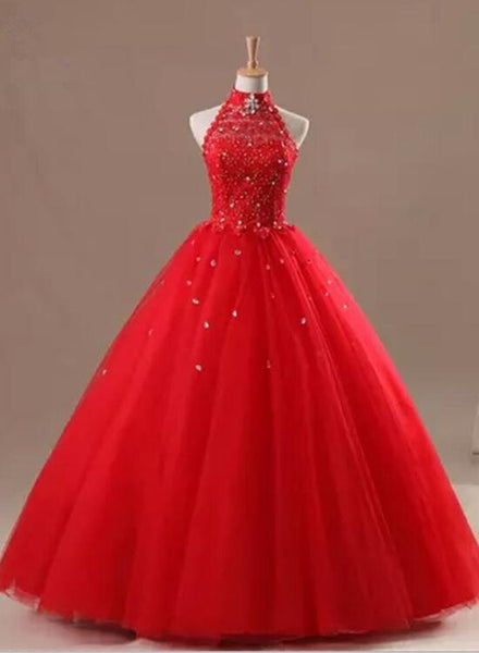 Gorgeous Red Halter Prom Dress, Prom Dress 2018, Formal Gowns