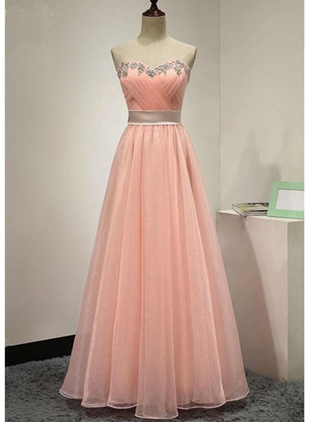 Lovely Simple Organza Pink Floor Length Sweetheart Party Dress, Organza Formal Dress, Prom 2018