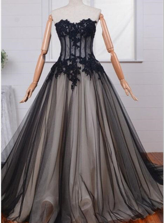 Long Black Tulle Lace Formal Gowns, Black Prom Dress, Party Dresses ...