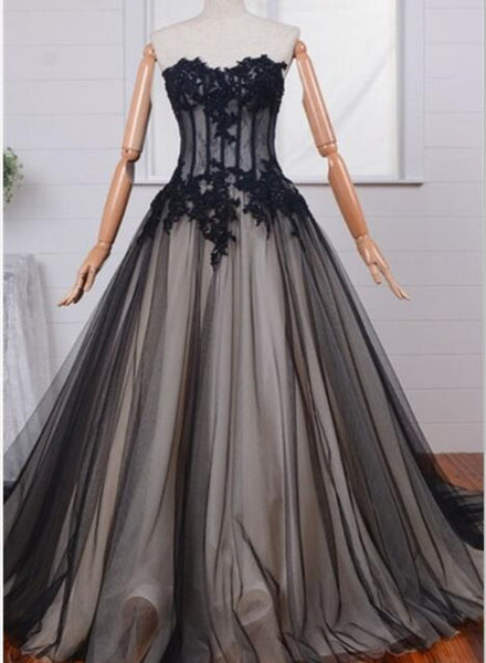 Long Black Tulle Lace Formal Gowns, Black Prom Dress, Party Dresses 2018