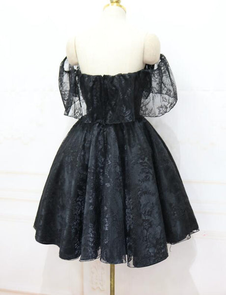Lovely Black Off Shoulder Lace Short Party Dress, Black Homecoming Dress
