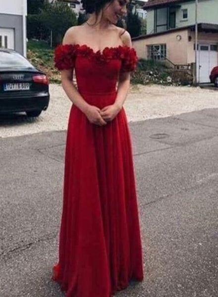 Wine Red Off Shoulder Floral Floor Length Prom Dresses, Red Party Dresses, Formal Dresses 2018